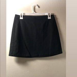 Black A-Line Mini Skirt with silver zipper